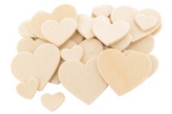 Coeurs en bois naturel - Set de 30 - Motifs brut – 10doigts.fr