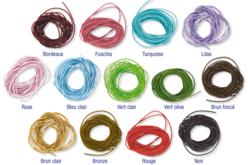 Cordons de cuir coloré - 1 mètre - Cordons en cuir et suédine – 10doigts.fr