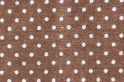 Coupon en coton imprimé : fond marron + pois blancs  - Coton, lin – 10doigts.fr