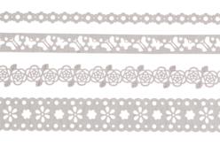 Dentelle adhésive en papier - Blanc printemps - Masking tape (Washi tape) – 10doigts.fr