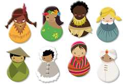 Enfants du monde en bois décoré