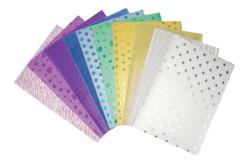 Feuilles adhésives pailletées assorties - 10 pièces - Papiers adhésifs à motifs – 10doigts.fr