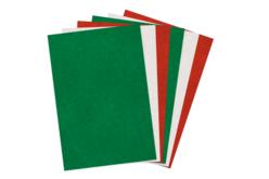 Feutrines 20 x 30 cm, 6 couleurs de Noël assorties : 2 rouges, 2 vertes, 2 blanches