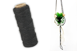 Cordelette en coton noir - 30 mètres - Cordes naturelles – 10doigts.fr