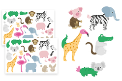Gommettes Mix-Animaux - 2 planches - Gommettes animaux – 10doigts.fr