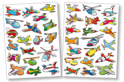Gommettes avions - 2 planches - Décorations Voyages – 10doigts.fr