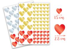 Gommettes coeurs métallisés -  2 planches - Coeurs autocollants – 10doigts.fr