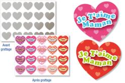 """Stickers cœurs """"Message d'amour"""" à gratter - 40 pcs - Cartes à gratter – 10doigts.fr"""