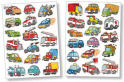 Gommettes voitures et camions - 2 planches - Gommettes Transports et Métiers – 10doigts.fr