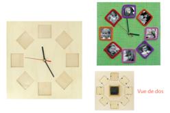 Horloge cadre photos en bois - Horloges – 10doigts.fr