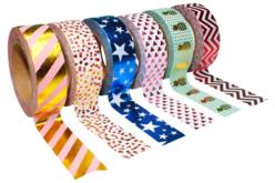 Masking tape à motifs métallisés - 6 rouleaux - Rubans et adhésifs – 10doigts.fr
