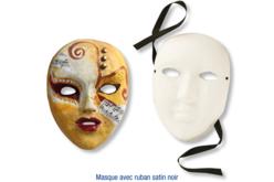 Masque en papier comprimé recyclé blanc avec ruban satin noir