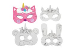 Masques licorne à colorier - Set de 4 - Mardi gras, carnaval – 10doigts.fr