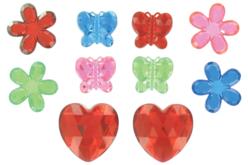 Méga strass fleurs, papillons et coeurs - 18 strass - Strass – 10doigts.fr