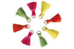 Pompons avec anneaux, couleurs vives - 8 pièces - Pompons – 10doigts.fr