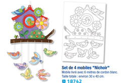 Mobiles Nichoir, à colorier - Lot de 4 - Support pré-dessiné – 10doigts.fr