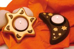 Moule 2 bougeoirs : lune et étoile - Moules – 10doigts.fr