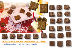 Moule chocolats calendrier de l'avent - 24 motifs - Moules gourmandises – 10doigts.fr