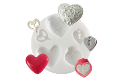 """Moule silicone """"Coeurs"""" - 5 formes - Décorations Fimo – 10doigts.fr"""