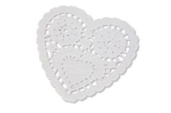 Napperons coeur en papier dentelle blanc