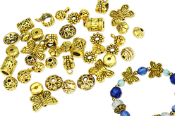 Charm's en métal doré - Set de 30 - Perles Lithothérapie – 10doigts.fr