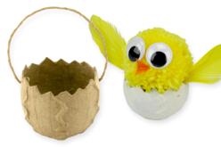 Panier oeuf de Pâques, en carton papier mâché - Supports de fêtes en carton – 10doigts.fr