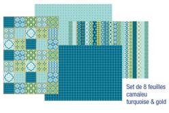 Papiers pour vernis-collage : 8 feuilles Camaïeu Turquoise & Gold