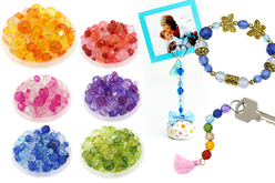 Perles à facettes - Assortiment de 900 - Perles acrylique – 10doigts.fr