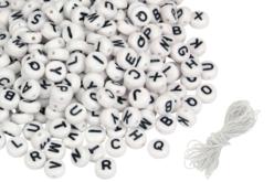Perles rondes alphabet noir - 300 perles - Perles Alphabet – 10doigts.fr