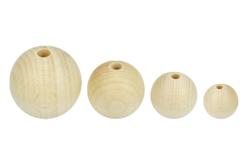 Perles rondes en bois naturel - Taille au choix - Perles en bois – 10doigts.fr