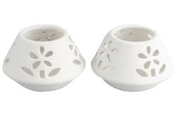 Photophore fleurs en céramique - Supports en Céramique et Porcelaine – 10doigts.fr