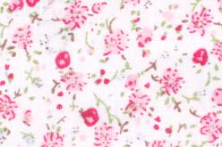 Coupon de tissu imprimé fleurs roses - 43 x 53 cm - Coupons de tissus – 10doigts.fr