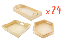 Mini-plateaux en bois - Set de 24 - Plateaux en bois – 10doigts.fr