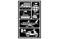 "Pochoirs adhésifs repositionnables ""Transports 2"" - Pochoir Adhésifs – 10doigts.fr"