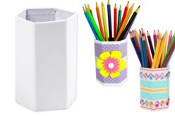 Pots à crayons hexagonaux en carton blanc - 10 pots - Pots, vases, paniers, sacs – 10doigts.fr