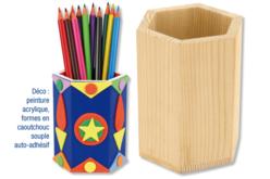 Pot à crayons héxagonal en bois