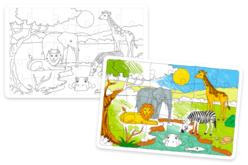 Puzzle avec fond, 30 pièces en carton blanc à colorier : AFRIQUE