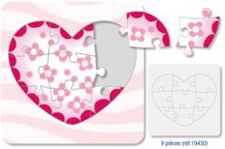 Puzzle en carton blanc à colorier, avec fond : COEUR - Puzzles à colorier, dessiner ou peindre – 10doigts.fr