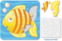 Puzzle POISSON en carton blanc avec fond, à colorier