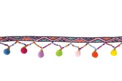 Ruban multicolore pompons perles - 1 m - Rubans, cordons – 10doigts.fr