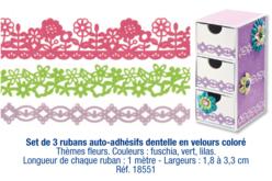 Rubans auto-adhésifs dentelle en velours coloré : fuschia, vert, lilas