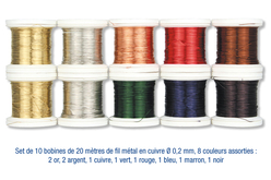 Set de 10 bobines de 20 mètres de fil métallique ø 0,2 mm, couleurs assorties : 2 or, 2 argent, 1 cuivre, 1 rouge, 1 vert, 1 marron, 1 bleu, 1 noir