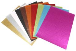 Set de 10 cartes fortes pailletées 24 x 34 cm - 10 couleurs assorties