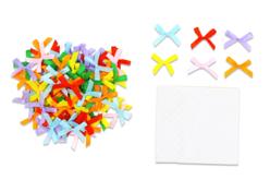 Nœuds ruban multicolores - Set de 100 - Rubans et ficelles – 10doigts.fr