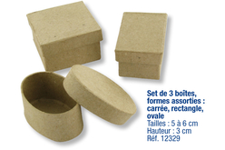 Set de 3 boîtes en carton papier mâché, formes assorties : Carrée + ovale + rectangle