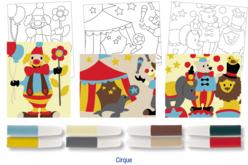 Set de 3 cartes sable assorties CIRQUE + 8 tubes de sable, couleurs assorties