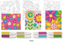 Set de 3 cartes sable assorties FLEURS + 8 tubes de sable, couleurs assorties