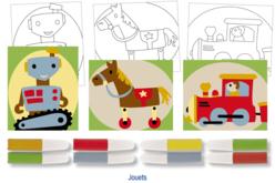 Set de 3 cartes sable assorties JOUETS + 8 tubes de sable, couleurs assorties