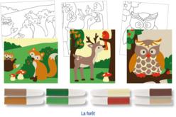Set de 3 cartes sable assorties LA FORET + 8 tubes de sable, couleurs assorties
