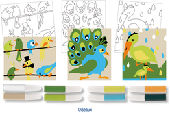 Set de 3 cartes sable assorties OISEAUX + 8 tubes de sable, couleurs assorties